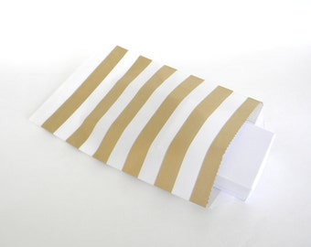 "25 Medium Metallic Gold Horizontal Stripes Paper Gift Bags 5 x 7.5"", Candy Buffet Bags, Wedding Shower Bags, Wedding Favor Bags"