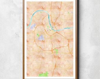 Map of Nashville, Nashville, Nashville art, Nashville map, Nashville print, Nashville decor, Nashville gift, Nashville art map, Wedding Gift