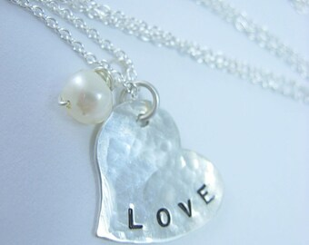 LITTLE LOVE.......Handstamped Sterling Silver Heart Necklace