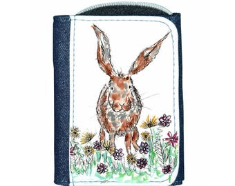 Rabbit denim purse, navy purse, denim purse, rabbit gift, rabbit wallet, rabbit purse, rabbit
