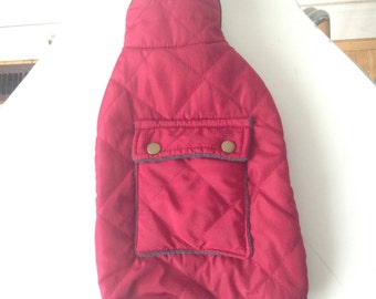 Fleece Lined Small Dog Coat with Pocket - Maroon Colored
