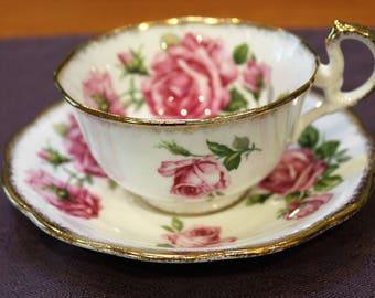 "Royal Standard Bone China ""Orleans Rose"" Teacup and Saucer"