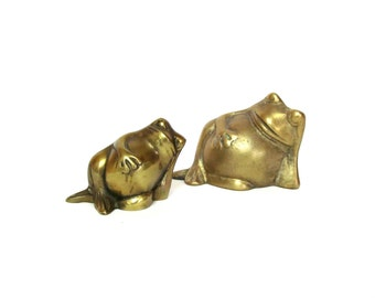 Vintage Brass Frog Pair, Relaxing and Chilling Cute Froggies