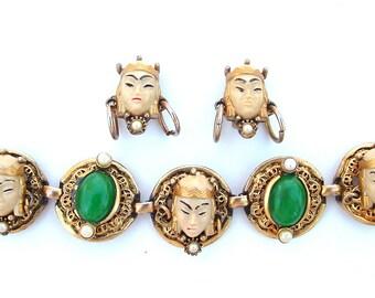 Vintage Selro Jewelry Set Asian Princess Designer Bracelet Earrings Demi Parure Gifts