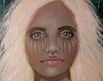 "Folk Art Portrait PRINT of Original Painting ""Alabaster"" by Lore"
