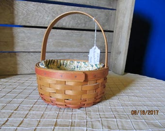 Longaberger Small Round Mother's Day Market Basket & Yellow Floral Liner with Handle Signed by Longaberger Family 4 Autographs