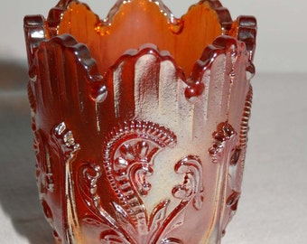 Marigold Carnival Glass Tooth Pick Holder Home & Garden Kitchen and Dining Serveware Tableware Tooth Pick Holders