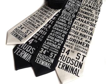 New York City Subway Sign Necktie. NYC, Brooklyn, Queens destination silkscreen tie. From original 1930s roll signs. Choose standard or XL.