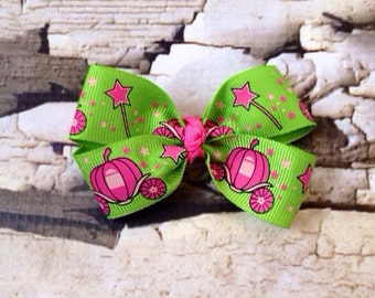 Princess Carriage Bow - Hair Bow - Pink Green Princess Hair Clip - Fairy Tale Hair Clip - Pigtail Hair Bow