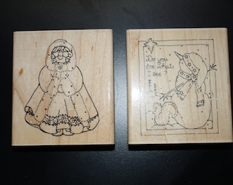 Snow Scene and Holly Winter girl stamps by DOTS/CTMH
