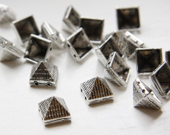 20pcs Oxidized Silver Tone Base Metal Spacers-Conical or Spikes- Two Holes 10x9mm (19622Y-D-407)
