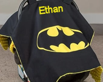 Batman Baby Car Seat Canopy Baby Car Seat Cover Superhero Minky Blanket Personalized blanket Custom Canopy Baby Shower Gift Batman Minky