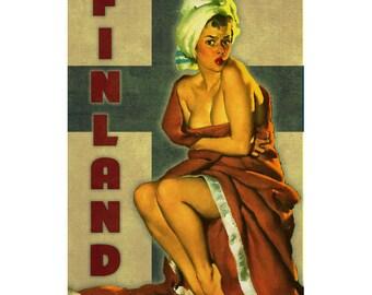 FINLAND 1PS- Handmade Leather Journal / Sketchbook - Travel Art