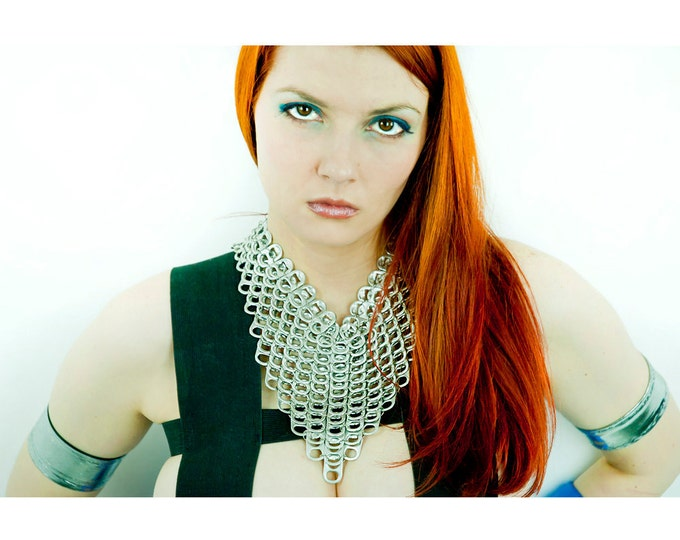Silver V-line ChainMaille Pop Tab Necklace