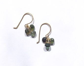 3 Leaf clover  jewelry, Large Green Tourmaline Gold Jewelry, OOAk, Knockout,
