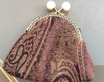 Kiss lock coin purse, Paisley fabric coin purse, Paisley fabric frame purse, twist lock purse, ladies / girls gift idea, birthday gift,