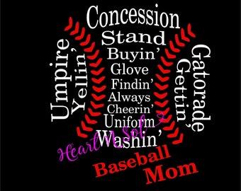 Baseball mom, Baseball word art, baseball shape word, word art, SVG, EPS, DXF, Digital file, Instant Download, Silhouette, Cricut