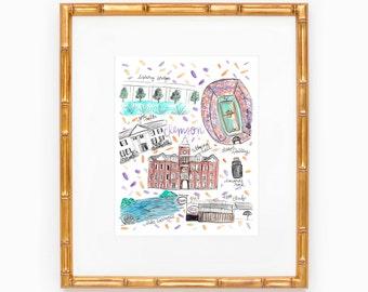 Clemson University Map Print