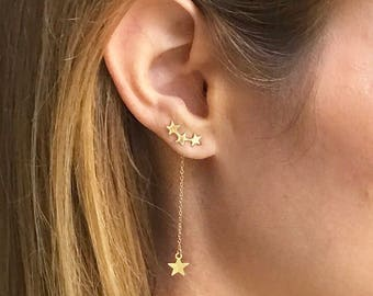 Gold Celestial Star ear Climber earrings with Star Charm Drop.   3 in 1