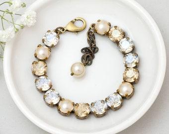 Champagne Wedding Bracelet, Swarovski Crystal Bracelet, Champagne Bridal Bracelet, Clear Crystal Jewelry, Cream Pearl Bracelet Glass, Gozde