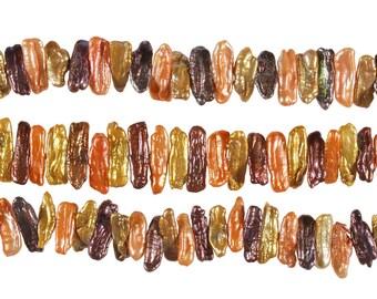 15 1/2 IN Strand 6x20-10x28 mm Freshwater Pearls Biwa Shaped Multicolor (FBWMUL1028)