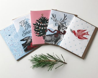 Assorted Set of 5 Christmas Cards and Envelopes - Happy Holidays - Tis The Season - Rudolph - Peace & Love - Merry Christmas/Joyeux Noël