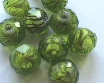 """""""tosca"""" green faceted bead"""