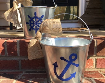 Nautical Galvanized Buckets - Steel with Anchor, Ship, Wheel Accents + Personalization