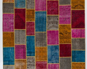 Colorful Patchwork Rug, Handmade from up-cycled vintage Turkish carpets. Wool & Cotton. Custom options available.  d365