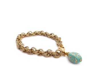Gold Chain Bracelet - Turquoise Charm Bracelet - Layering Stacking Bracelet - Handmade Turquoise Jewelry - Mother's Day Gift