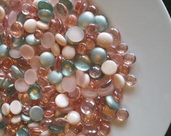 Vase Filler, Peach & Aqua Flat Back Glass Gem Mix-DISCOUNTED BULK OPTIONS-Peach, Mint, Seafoam, Flat Marbles, Mosaic Tiles, Floral, Wedding