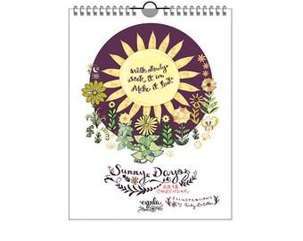 SALE Sunny Days Calendar 2018 - sun calendar - happy, sun animals, sun sayings - 2018 calendar