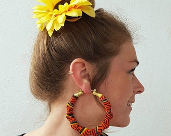 Sunstar Retro Hoop Earrings, Hippie Jewellery, Handmade Earrings, Festival Hoops, Bamboo Earrings, Vintage, Orange Hoops, Festival Wear