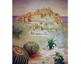 EZE-VILLAGE, French Riviera south France, Travel Poster, Medieval Village,Original Illustration Artist Print Wall Art, Free Shipping in USA.