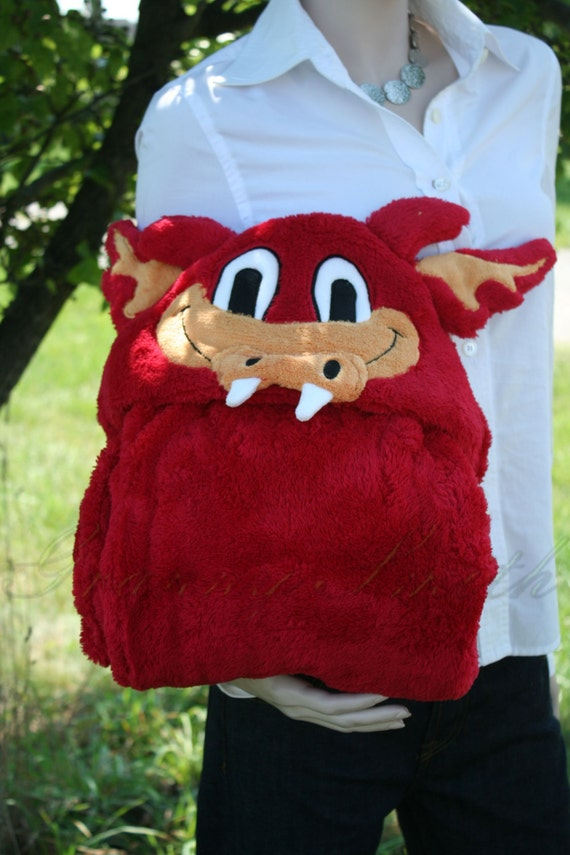Child's red DRAGON imaginary play costume or hooded plush blanket, shearling robe, naptime throw, Travel Buddy.