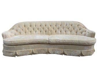 Dorothy Draper Inspired Hollywood Regency Curved Tufted Sofa