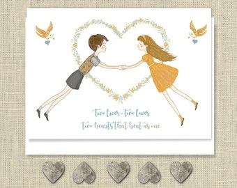 Two Hearts Anniversary Card, Engagement Card, Wedding Card