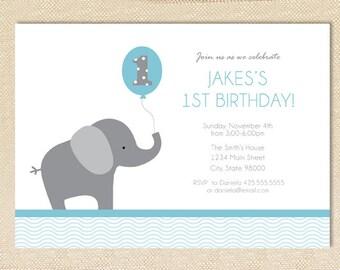 Elephant Birthday invitation - set of 15