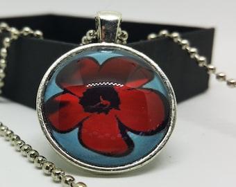 Poppy Flower Necklace - Red Poppy Pendant Necklace - Silver Pendant - Simple Flower Design Necklace - Mothers Day Gifts
