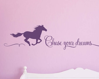 Chase your Dreams Wall Decal with Horse, Horse Wall Decals, Girls Room Decals, Equestrian Decals, Cowgirl Wall Decals, Vinyl Decals