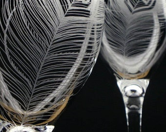 Peacock Feathers Crystal Hand Engraved Wine Glasses Wedding Toast Featured in Wine Enthusiast Magazine