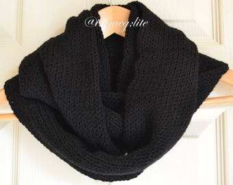 knitted scarf, snood scarf, stylish scarf, solid black scarf, winter accessories, ladies scarf, man scarf, uk scarves