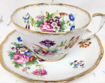 Roslyn Minuet Floral Bouquets Tea Cup and Saucer, Fine Bone China, Gift for Her (see details)