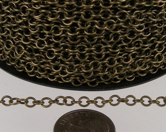 Antique Brass Chain, 12 ft. spool of Antique Brass  CIRCLE Round Cable Chain - 3.2mm Unsoldered Link
