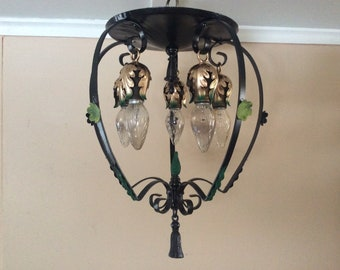 Antique Large Ceiling Light Fixture Wrought Iron 1940s Spanish Revival