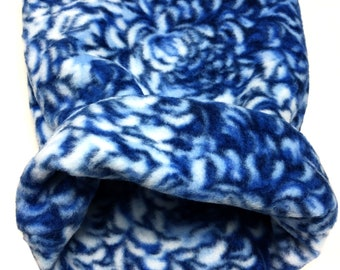 Medium Fleece White and Blue Flower Print Snuggle Sack for Hedgehogs, Ferrets, Rabbits, Guinea pigs, Hamster and Small Reptiles