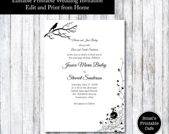 Skull wedding invite Etsy