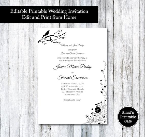Halloween Wedding Invitation Template DIY Printable Gothic - Halloween wedding invitations templates