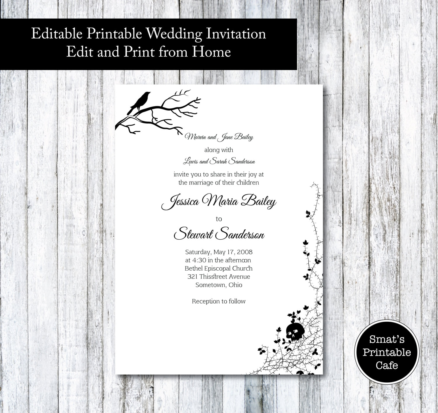 Halloween wedding invitation template diy printable gothic zoom monicamarmolfo Images