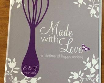 Recipe Binder, Blank Recipe Book, Bridal Shower Recipe Binder